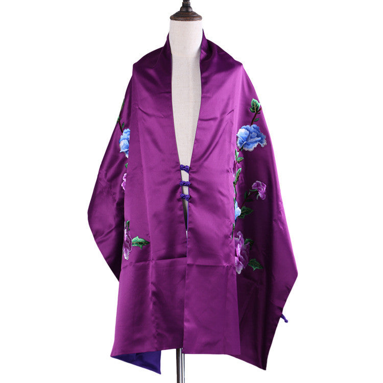 Handmade purple Su embroidery mulberry silk scarves