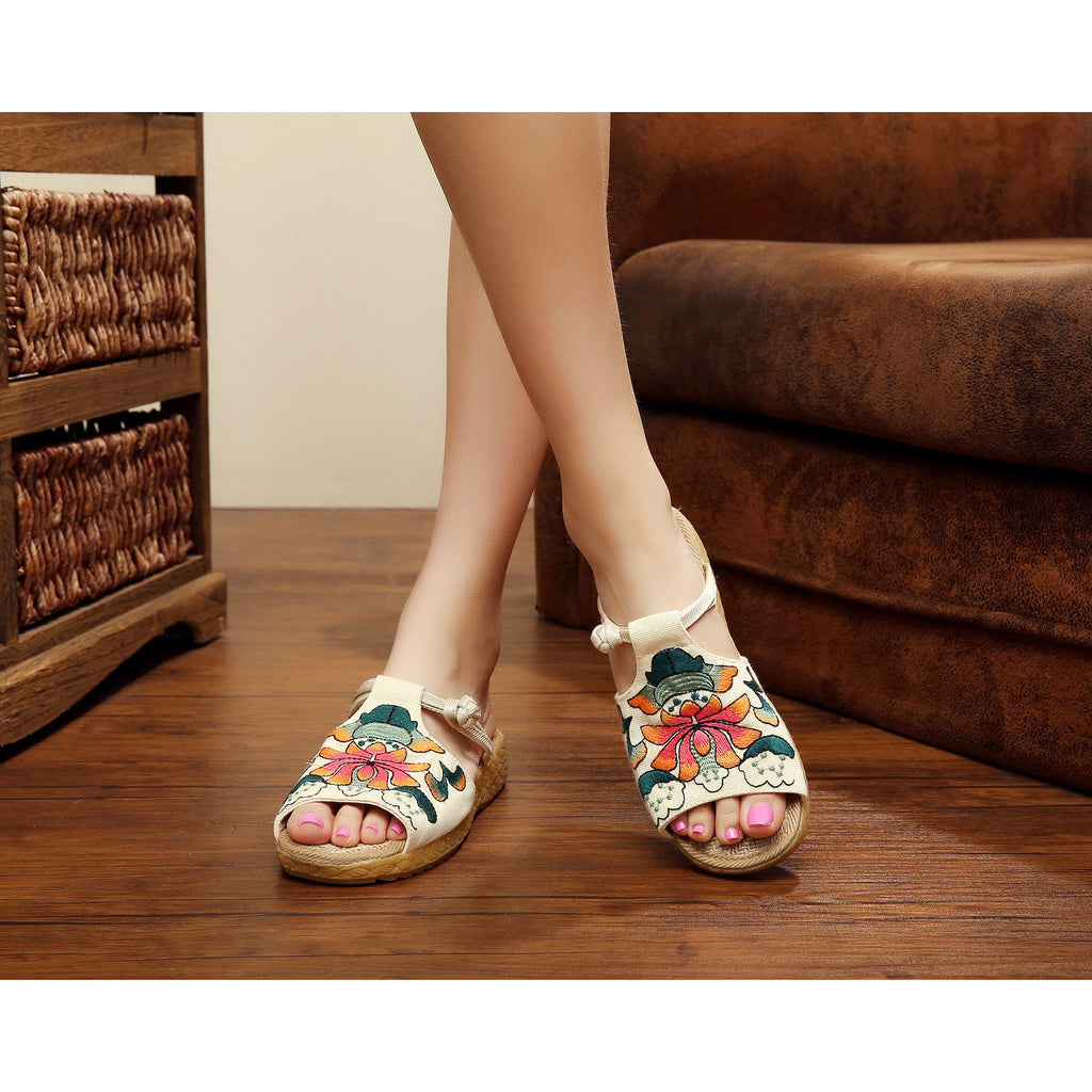 Fashionable handmade vintage printed embroidery wedge sundals - cultureincart.com