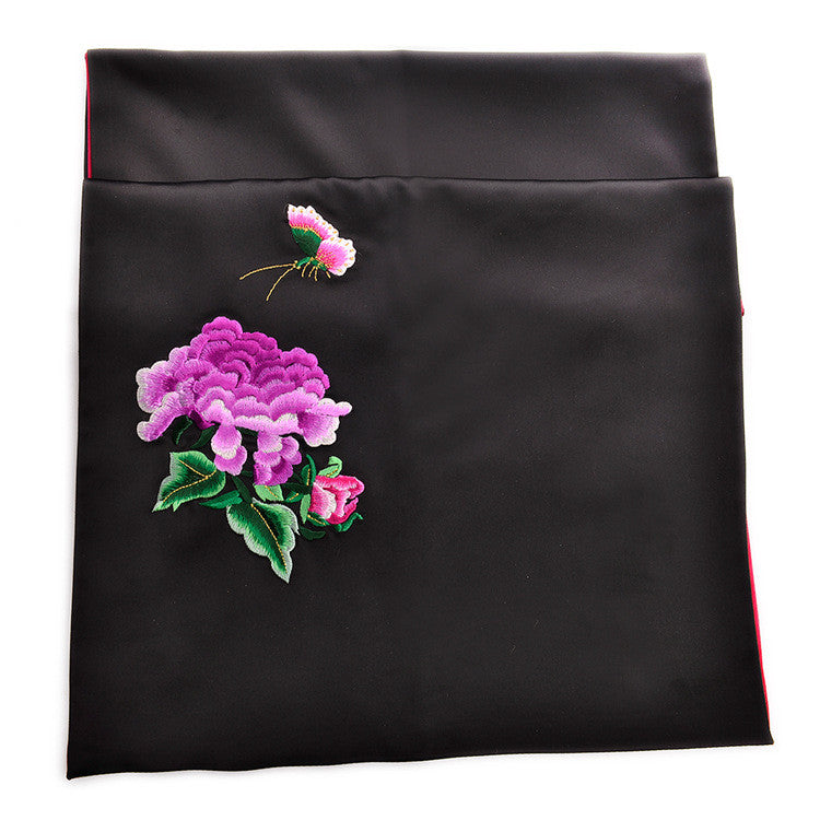 Embroidered handmade natural silk scarves