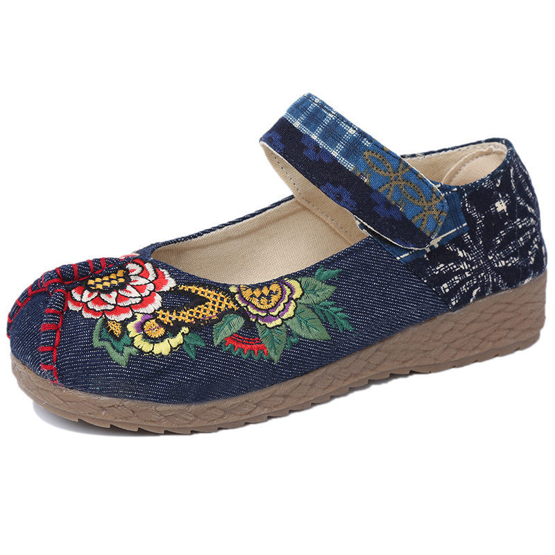 Fashionable Thai folk style antiskid handmade flattied color split joint flax shoes - cultureincart.com