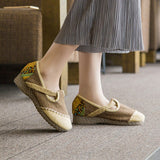 Classical style vintage printed embroidery handmade linens shoes - cultureincart.com