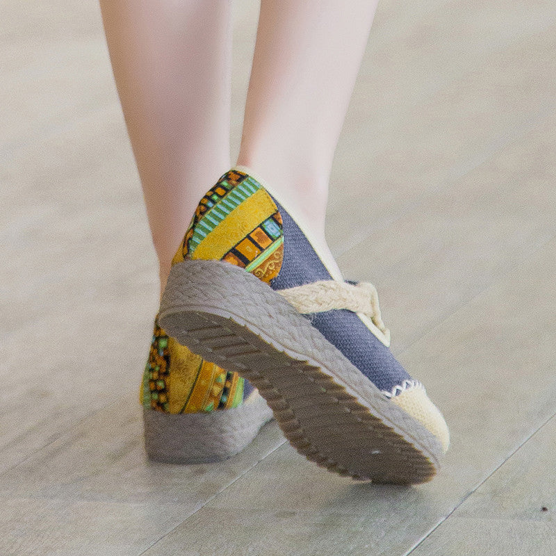 Classical style vintage printed embroidery handmade linens shoes