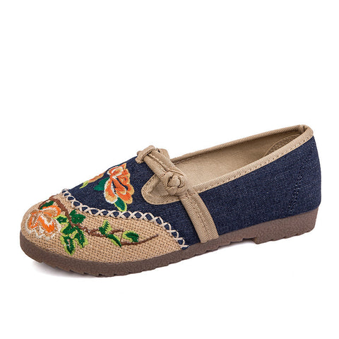Vintage embroidered printed handmade ventilate flattied flax shoes