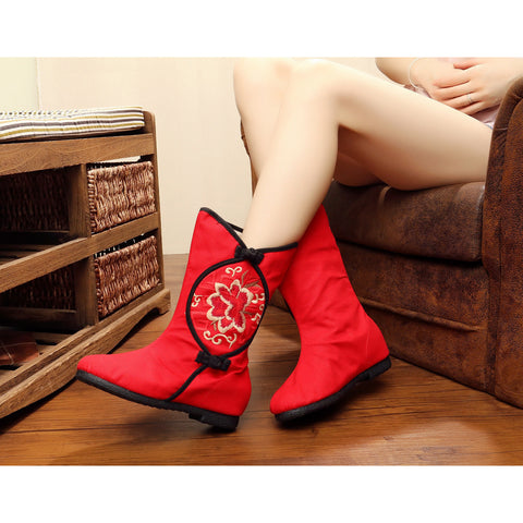 Chinese classical style vintage printed embroidery handmade cloth boots