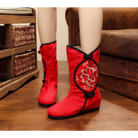 Chinese classical vintage printed embroidery handmade cloth boots