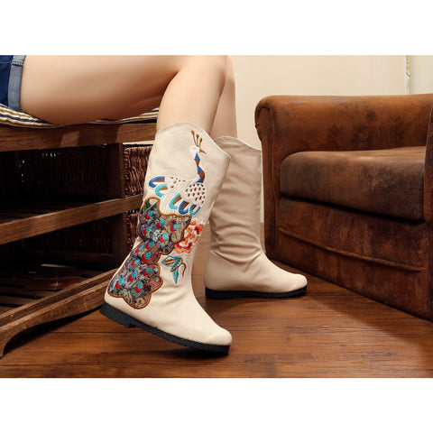 Classical style vintage printed embroidery peacock cloth boots