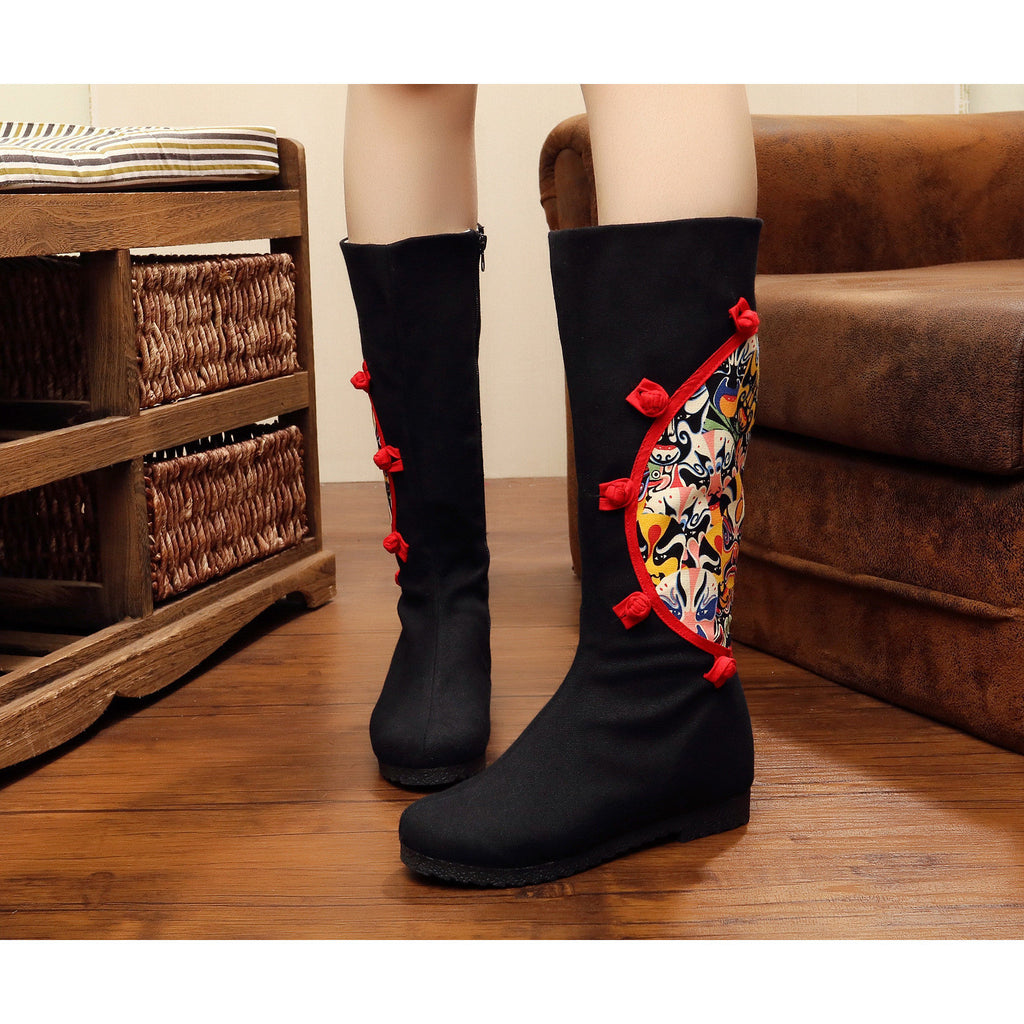 Classical style vintage printed embroidery Chinese oprea mask zipped antiskid boots