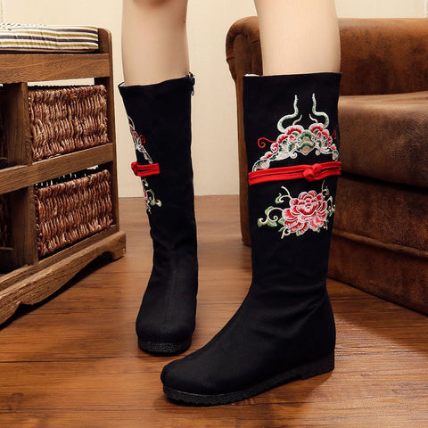 Vintage printed embroidery handmade wedge boots -The beauty of peonys