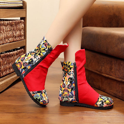 Fashionable vintage embroidered handmade wedge boots