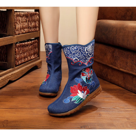 Vintage style embroidered beijing opera mask handmade antiskid boots