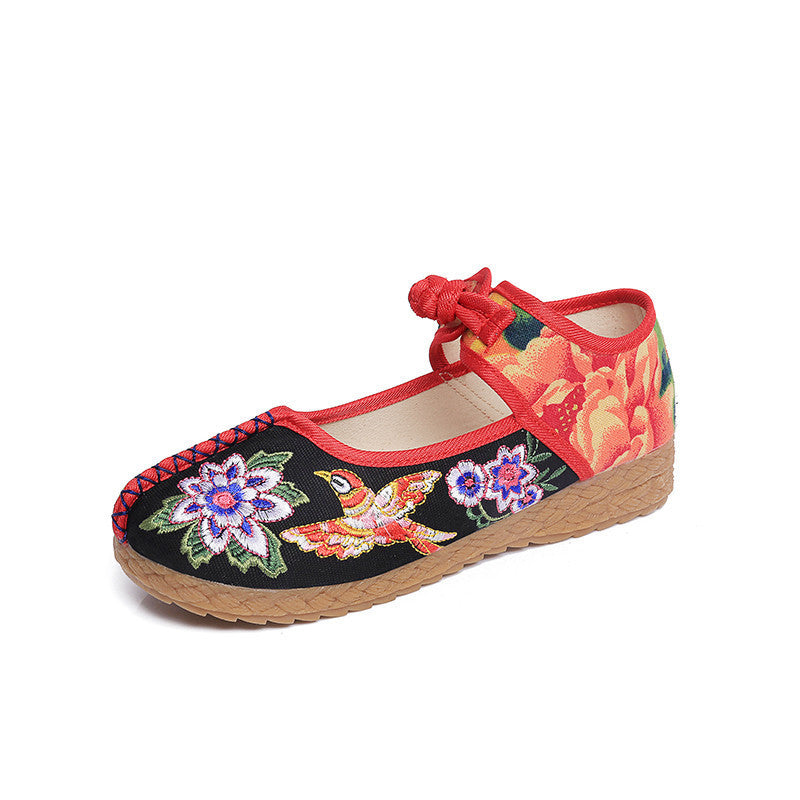 Fashionable printed embroidery flattied flax shoes