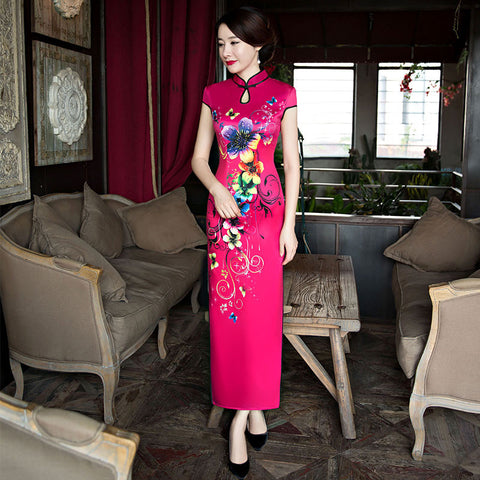 Slim printed elegant high quality stand collar velvet long cheongsam