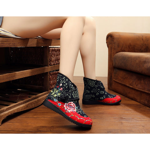 Classical vintage printed handmade ventilate flattied cotton boots