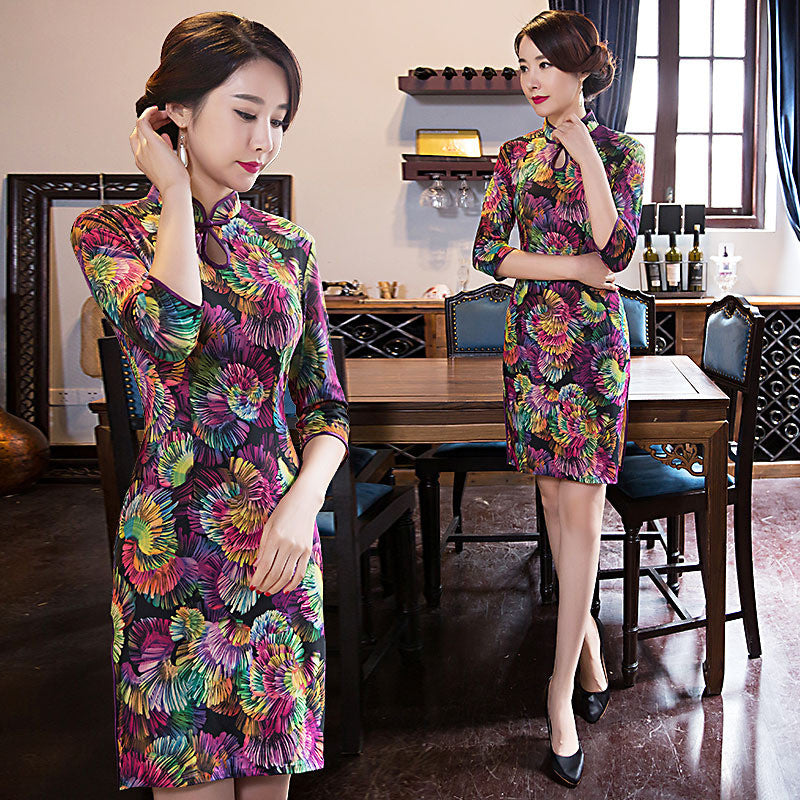 Vintage three quarters length sleeve voile ethnic style cheongsam