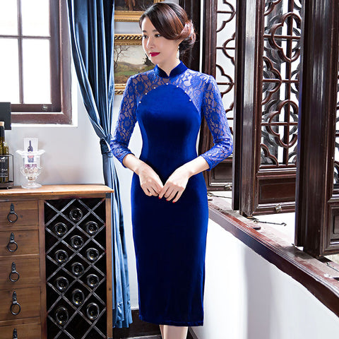Three quarters length sleeve pure color lace patchwork cheongsam