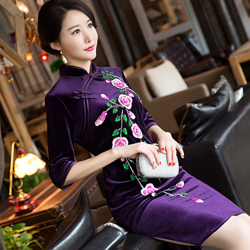 Sequins velvet elegant high quality cheongsam