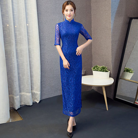 Pure color lace patchwork vintage half sleeved cheongsam
