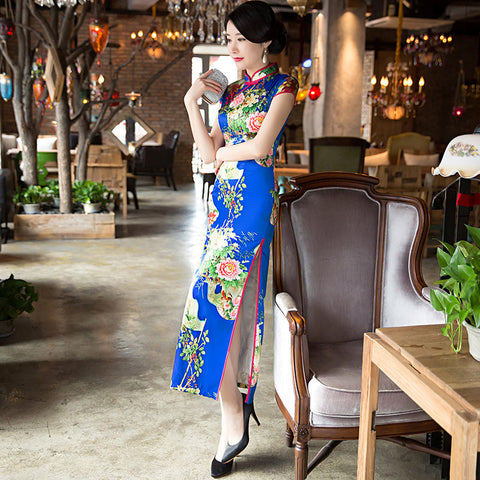 Soft silk slim vintage floral prints party dress cheongsam