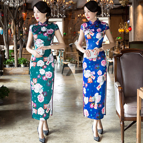 Classical slim vintage long cheongsam