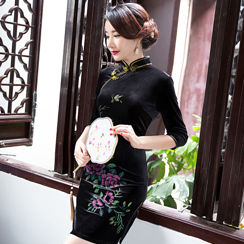 High quality flowers printed handmade slim cheongsam
