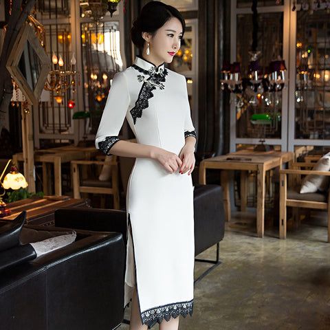 Slim lace patchwork vintage half sleeved long cheongsam