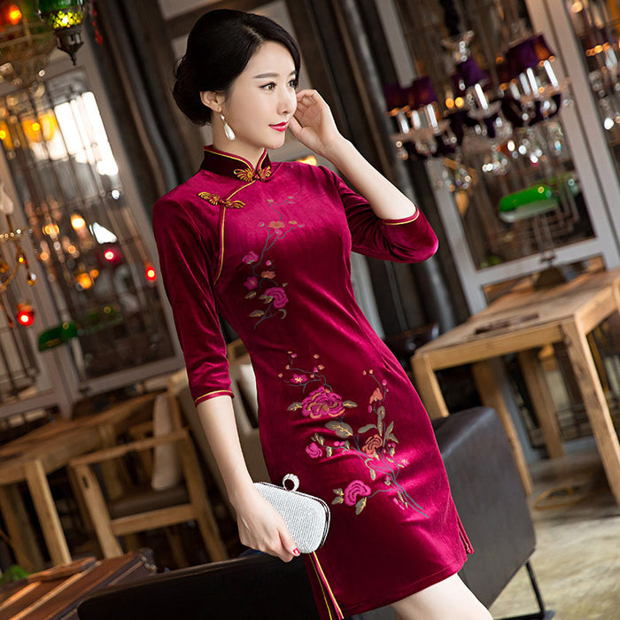 Handmade embroidery velvet pure color high quality cheongsam - cultureincart.com