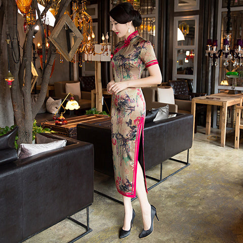 Slim vintage multicolored elegant cheongsam
