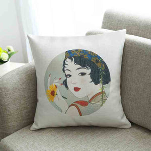 Ancient beauties literary vintage linen fabric back cushion - cultureincart.com