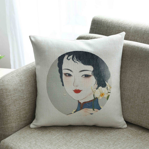 Ancient beauties literary vintage linen fabric back cushion