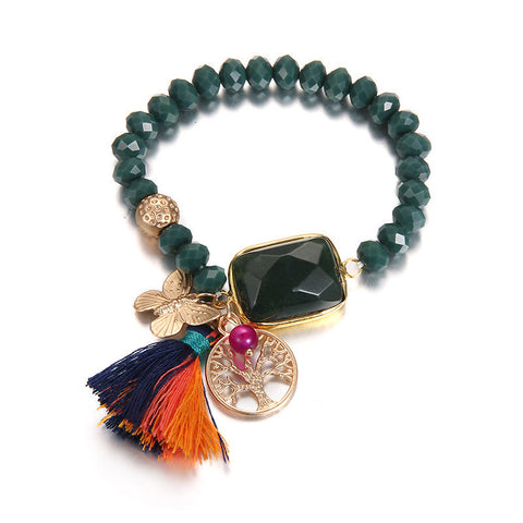 Bohimia deep green tassel alloy metal hand chain