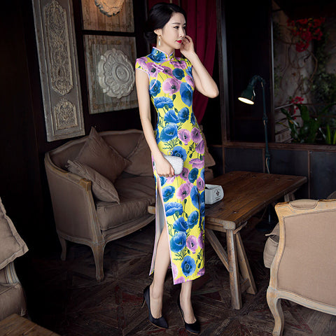 Fashionable slim long silk party dress cheongsam