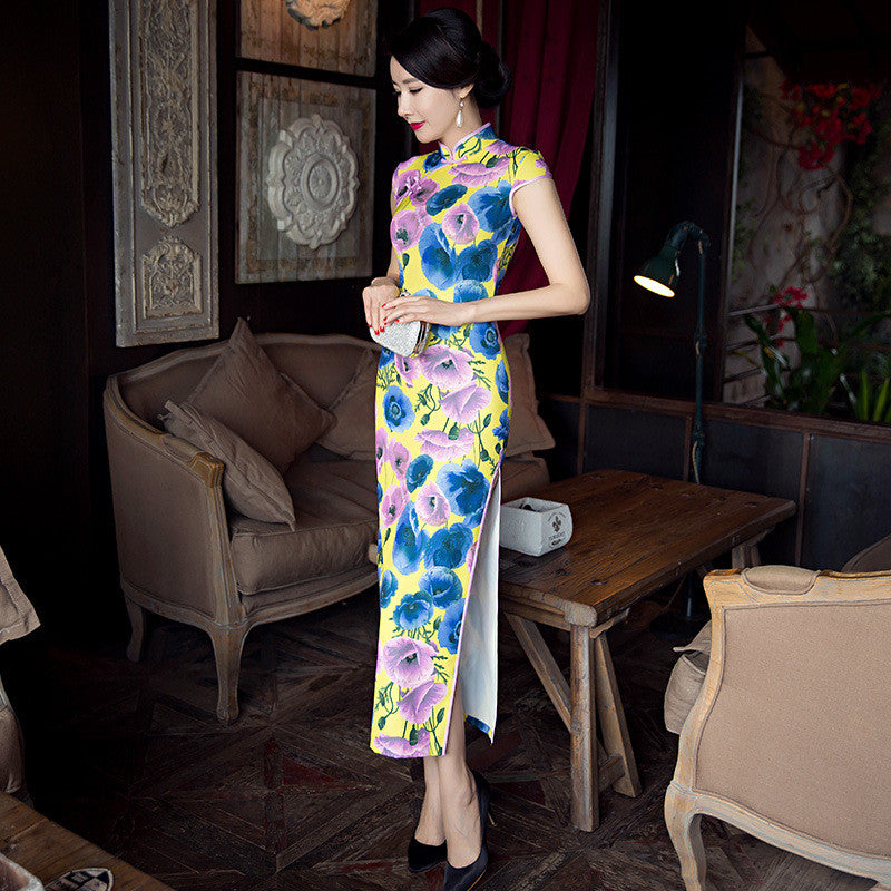 Fashionable slim long silk party dress cheongsam - cultureincart.com