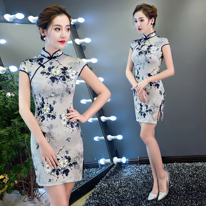 Short sweet fashionable light blue silk modern cheongsam