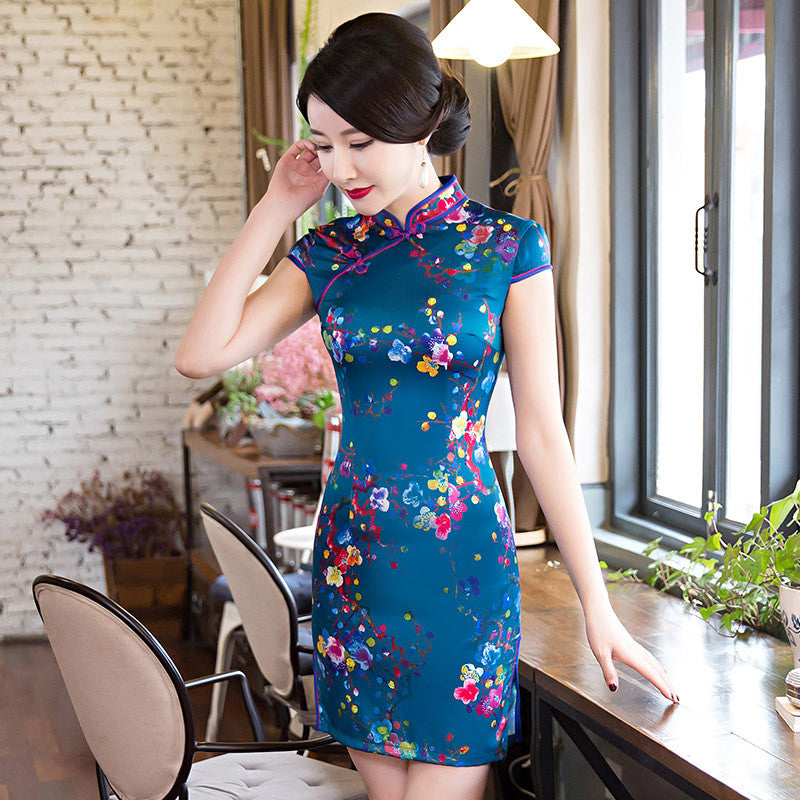 Vintage air brushing silk short sweet cheongsam