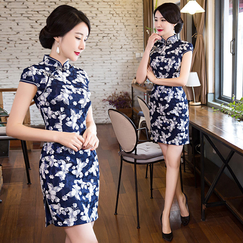 Lace patchwork vintage printed silk sweet cute short cheongsam