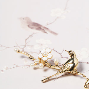 Bird and Plum Blossom Brooch - cultureincart.com