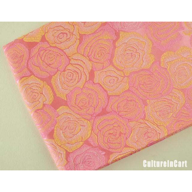 Pink Embroidered Peony  Brocade Scarf