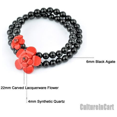 Classic Style Plum Blossom Black Agate Carved Lacquer Bracelet