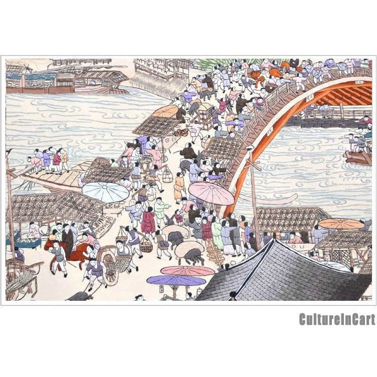 "HighGrade Hand Embroidery ""Along the River During the Qingming Festival"" Scroll"