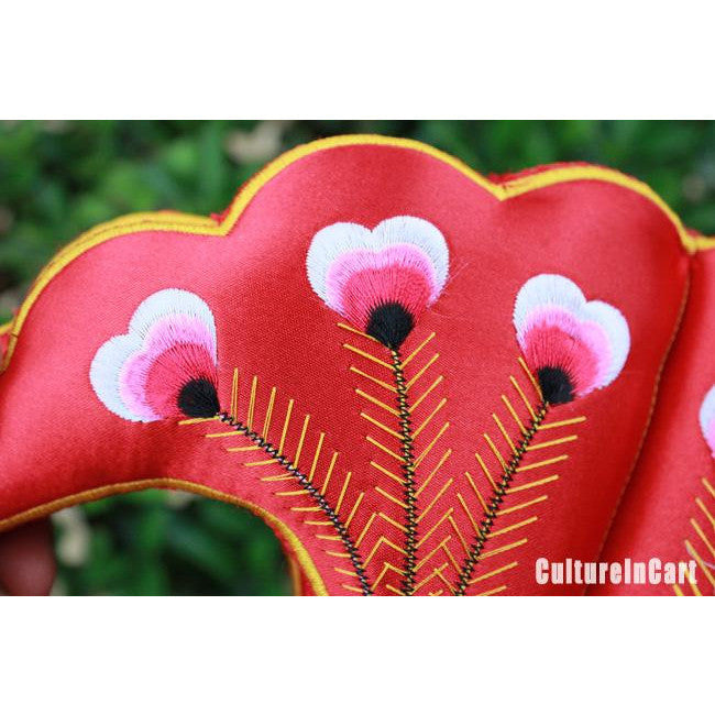 Red Peafowl Embroid Perfume Bag Pendant