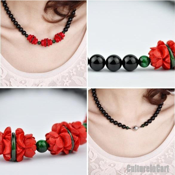 Classical Lotus Black Agate Carved Lacquer Necklace