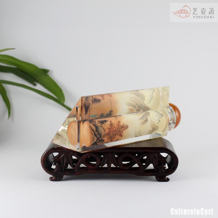 Chinese Landscape Painting Diamond Snuff Bottle