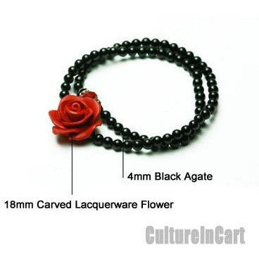 Rose Black Agate Carved Lacquer Bracelet