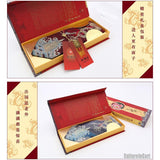 Silk embroidered dragon and traditional patterns blue nanjing brocade tie