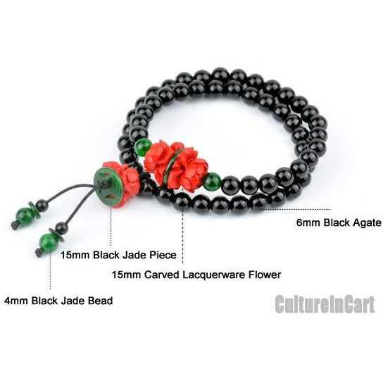 Classic Style Lotus Black Agate Carved Lacquer Bracelet