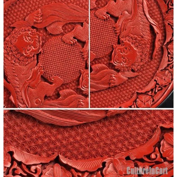 """Lions Playing with a Silk Ball"" Carved Lacquer Plate - cultureincart.com"