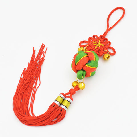 Colorful Weaving Small Bells Chinese Knot Pendant