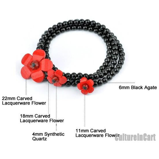 Three Rings Peony Black Agate Carved Lacquer Bracelet