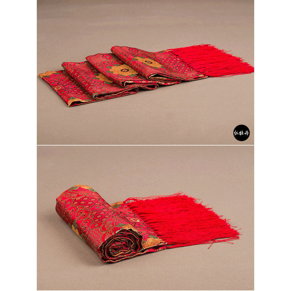Finest nature silk handmade red embroidered peony nanjing brocade scarf - cultureincart.com