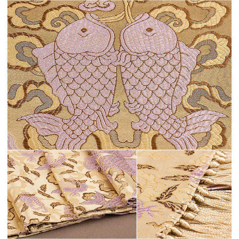 Finest nature silk handmade golden embroidered bouncing carps nanjing brocade scarf